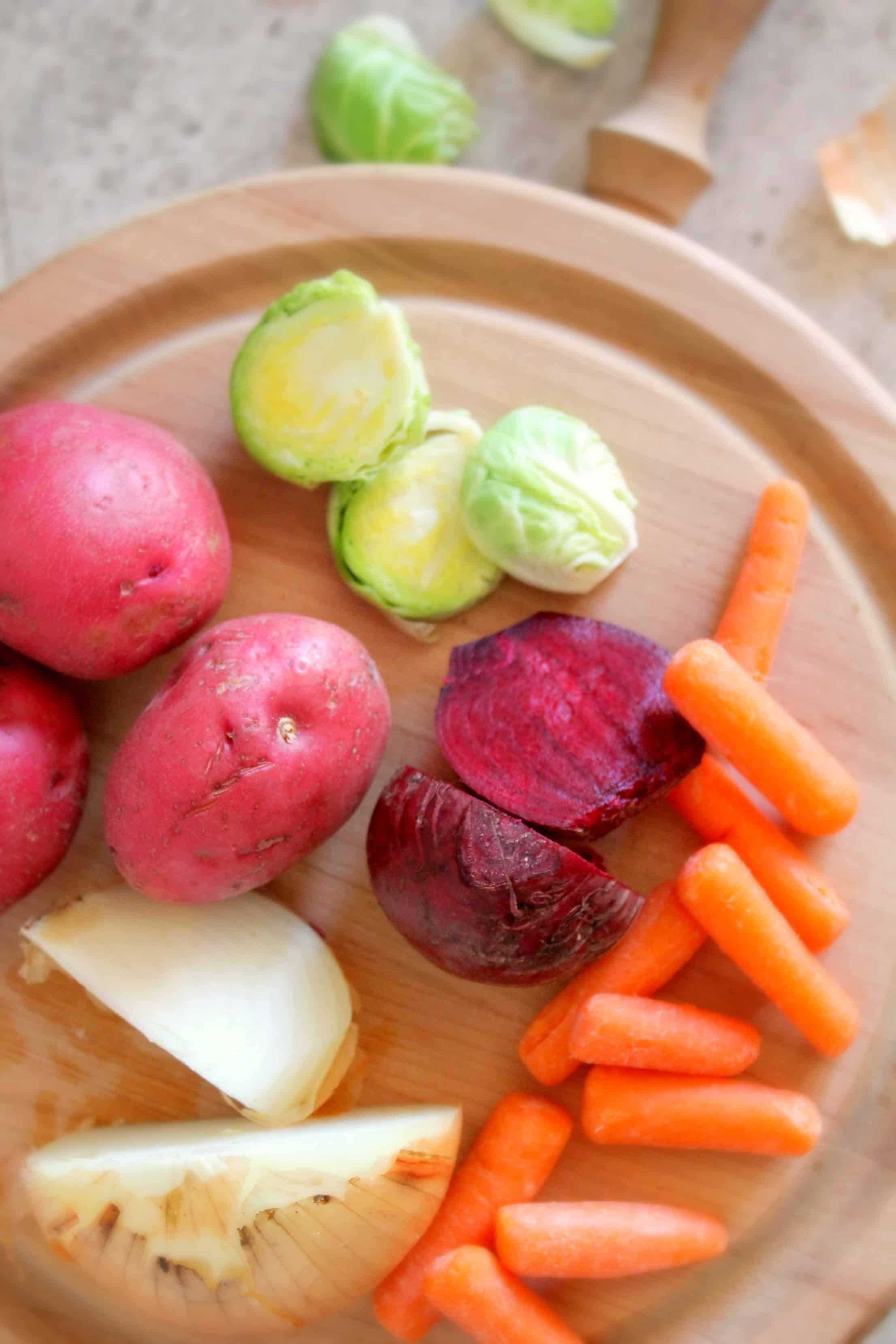 red potatoes, brussels sprouts, beets, carrots,