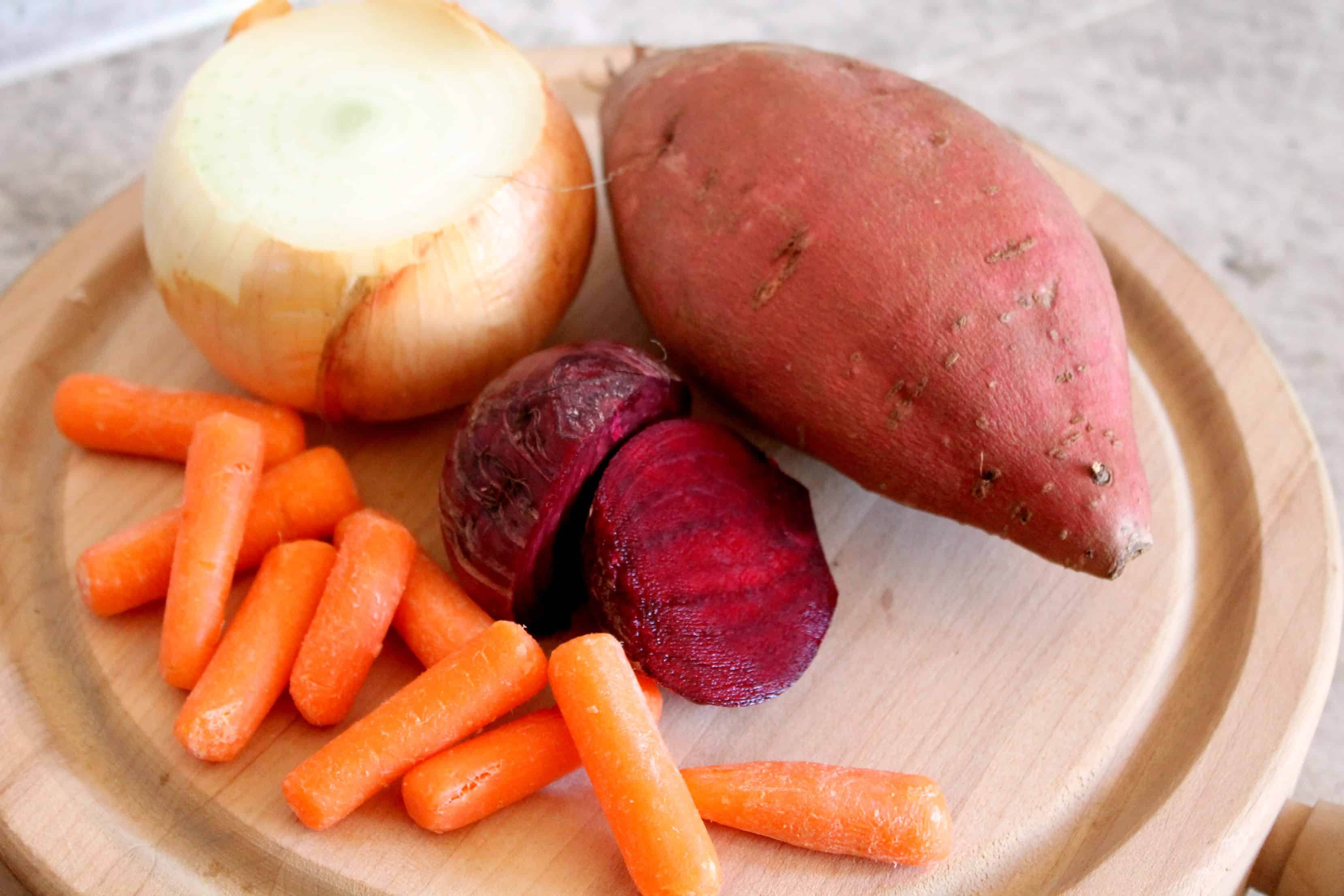sweet potato, onion, beets, carrots