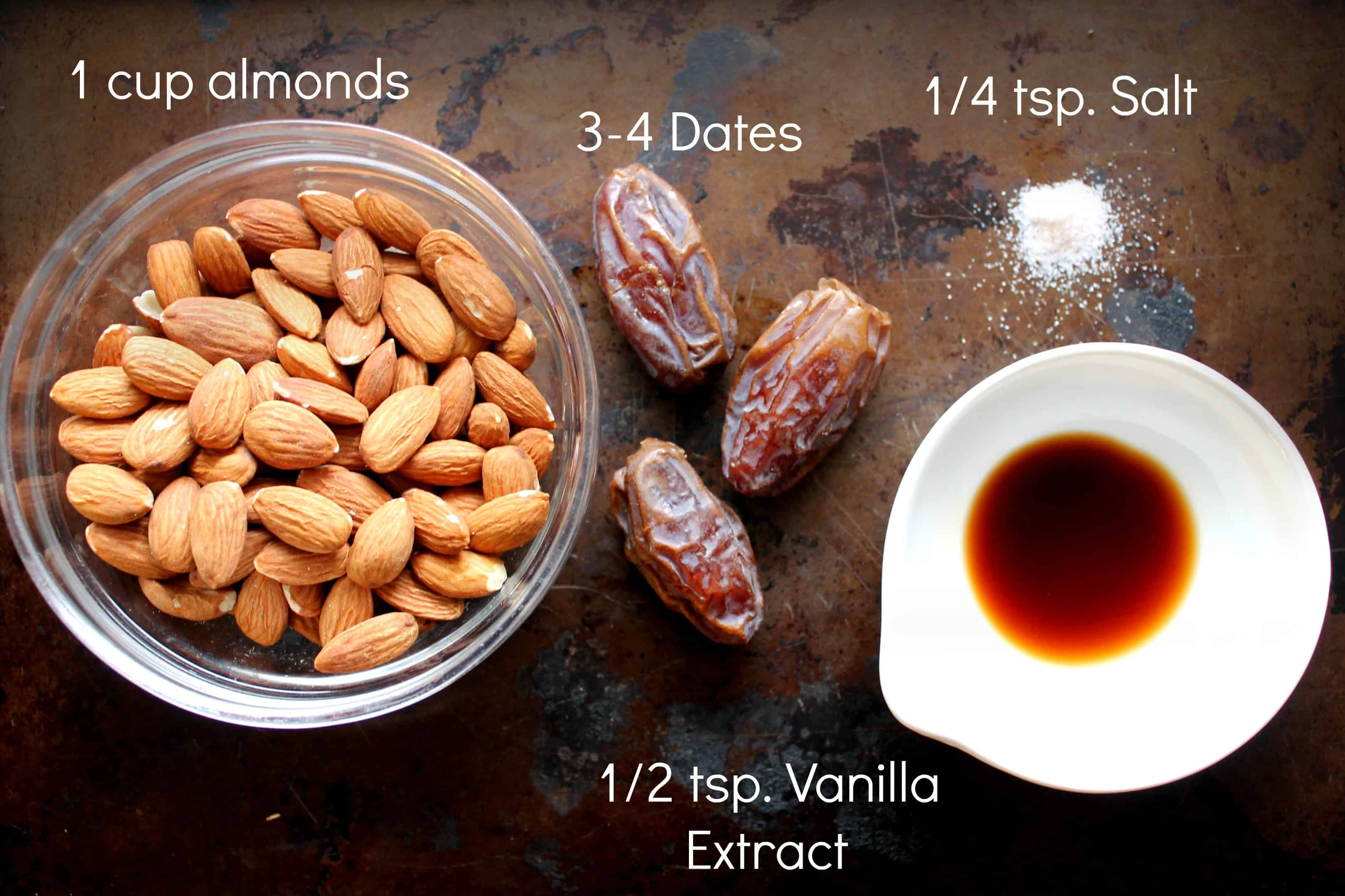 almond milk, almonds, dates, vanilla, salt, ingredients, almond milk DIY