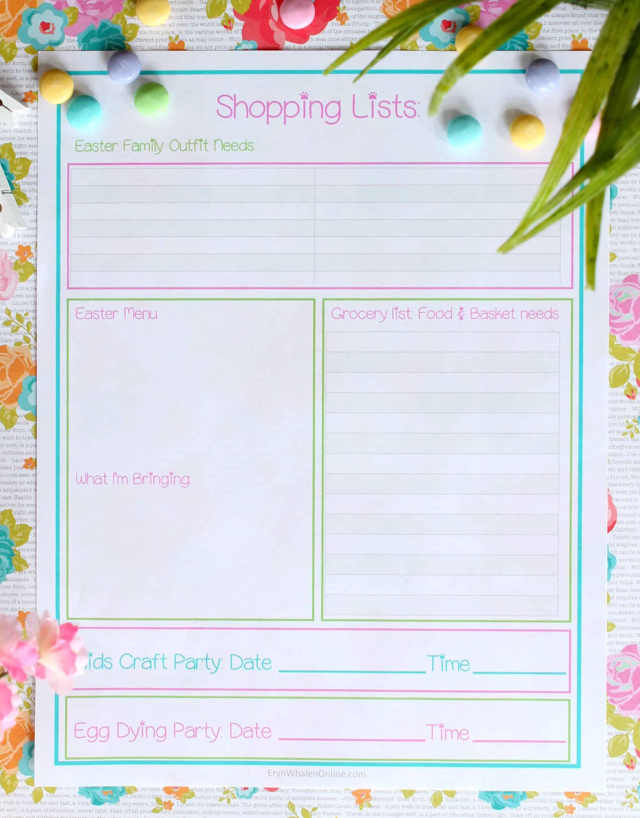 free printable, spring printable, easter printable, easter planning