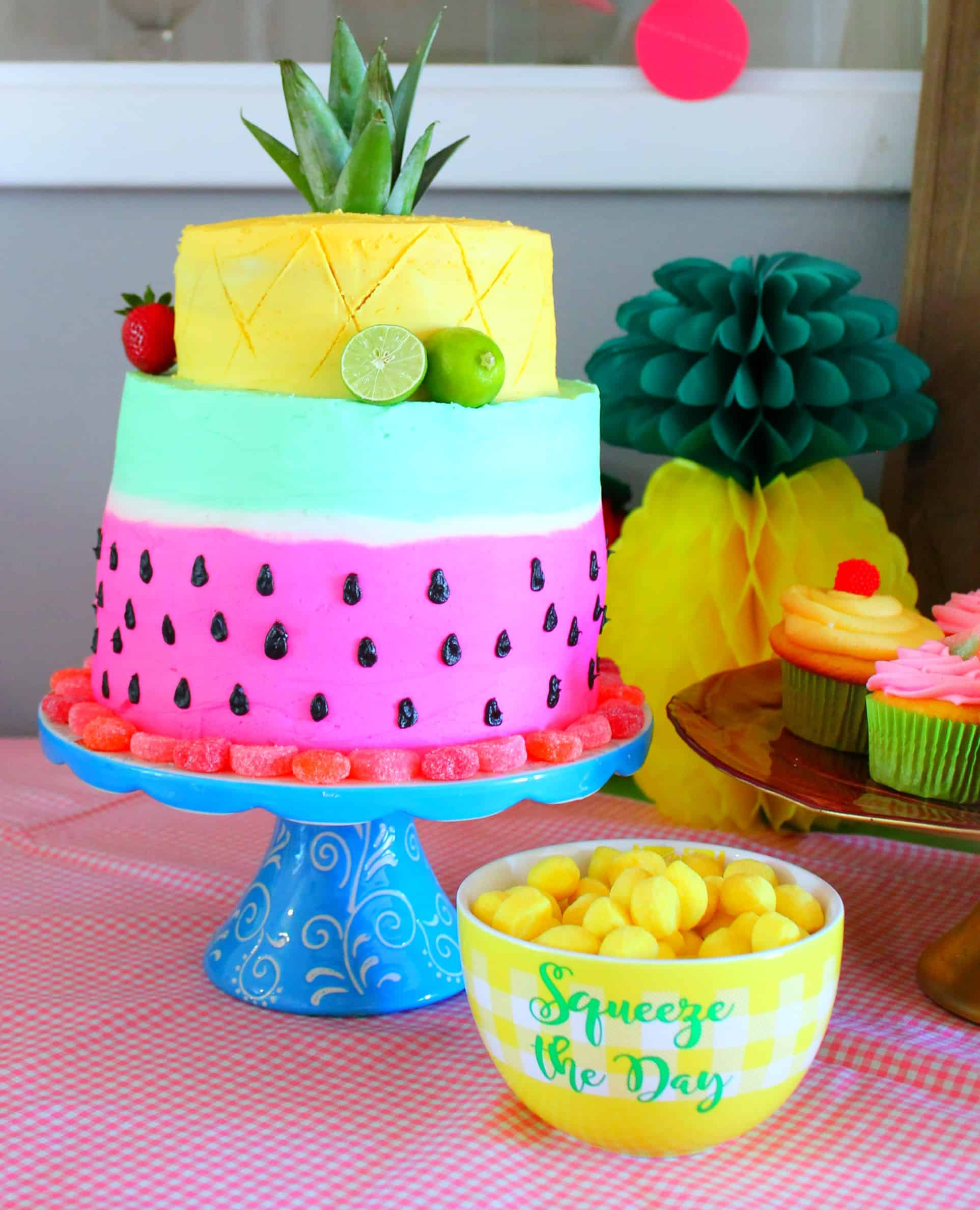 Two-tti fruity birthday, birthday theme, two year old birthday, girls birthday, summer birthday, fruit, fruity, tootie fruity, birthday party, birthday, cake, fruit cake, watermelon cake, pineapple cake, two-tti fruity cake
