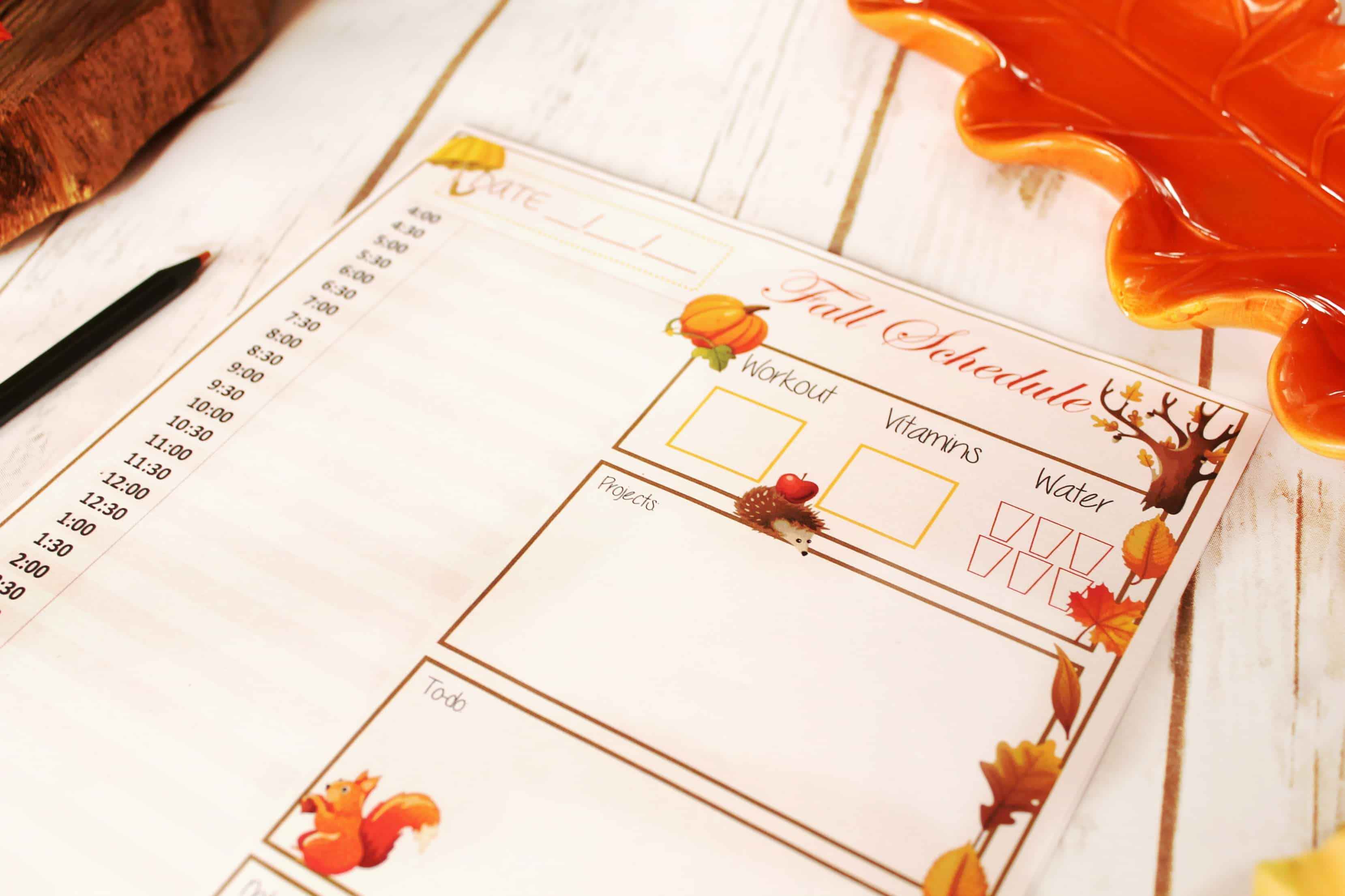 fall printables, printables, fall, schedule, sahm, sahm schedule,