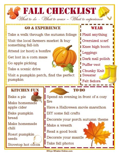 fall checklist, fall to do's, fall plan, this fall, autumn, fall