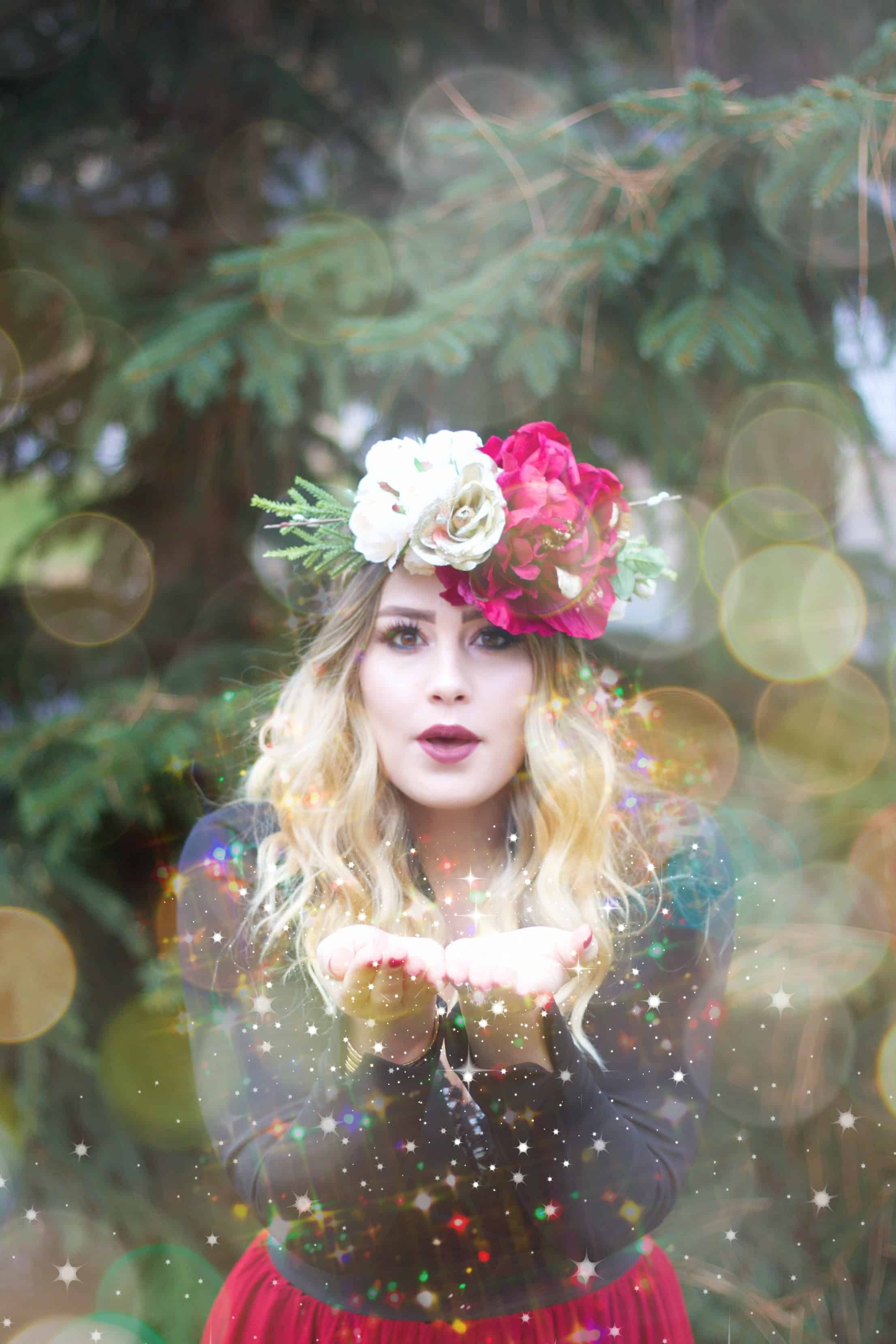 DIY Flower Crown, blowing glitter, flower crown, winter photos, winter photoshoot,
