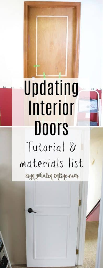 I wanted new bedroom and bath doors but oh the cost! After researching I decided instead to work on updating interior doors with molding, paint, and some new handles.