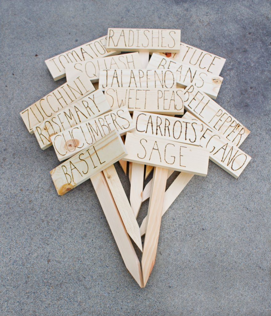 Want to DIY plant markers that are cute and also stand the test of time? These sealed markers inscribed with a wood burner will last for years! #plantmarkers #diyplantmarkers #woodburning