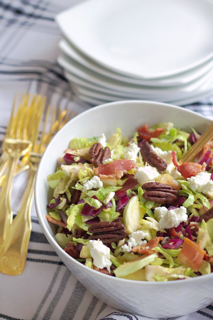 Brussels sprout salad with caramelized pecans and goat cheese