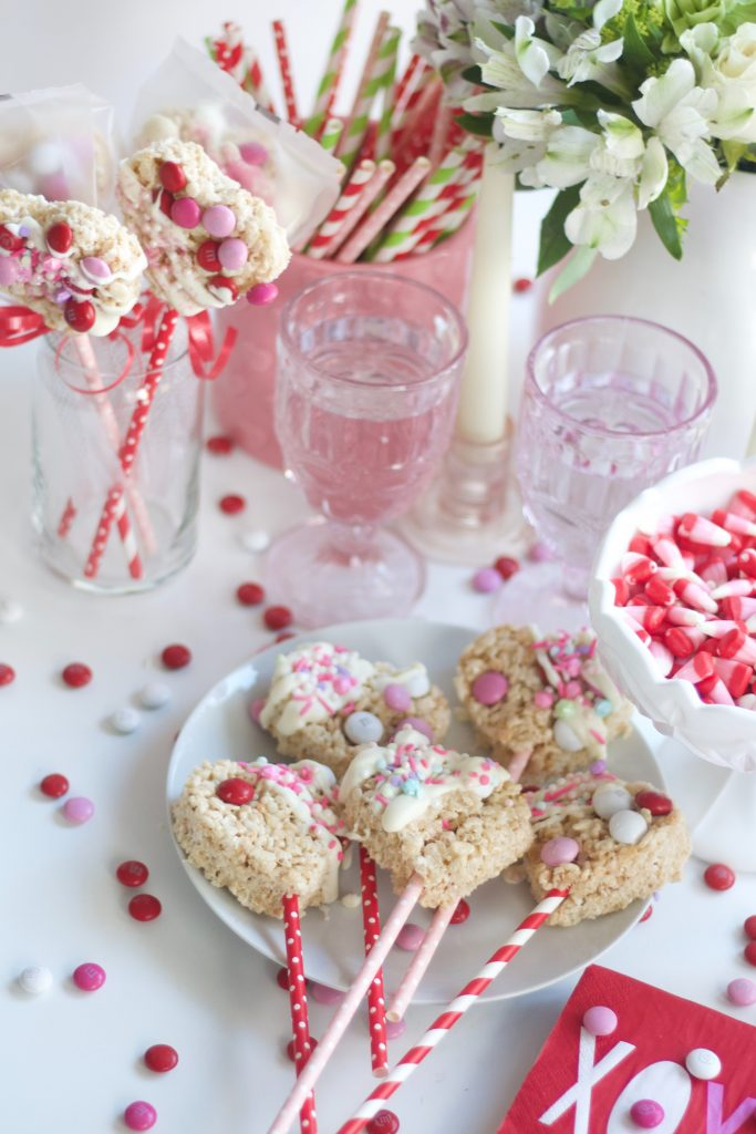 What better way to take this classic recipe that's pleases 99.99% of the population and turn them into Valentines Rice Krispie Treats! #valentiensday #ricekrispiestreats