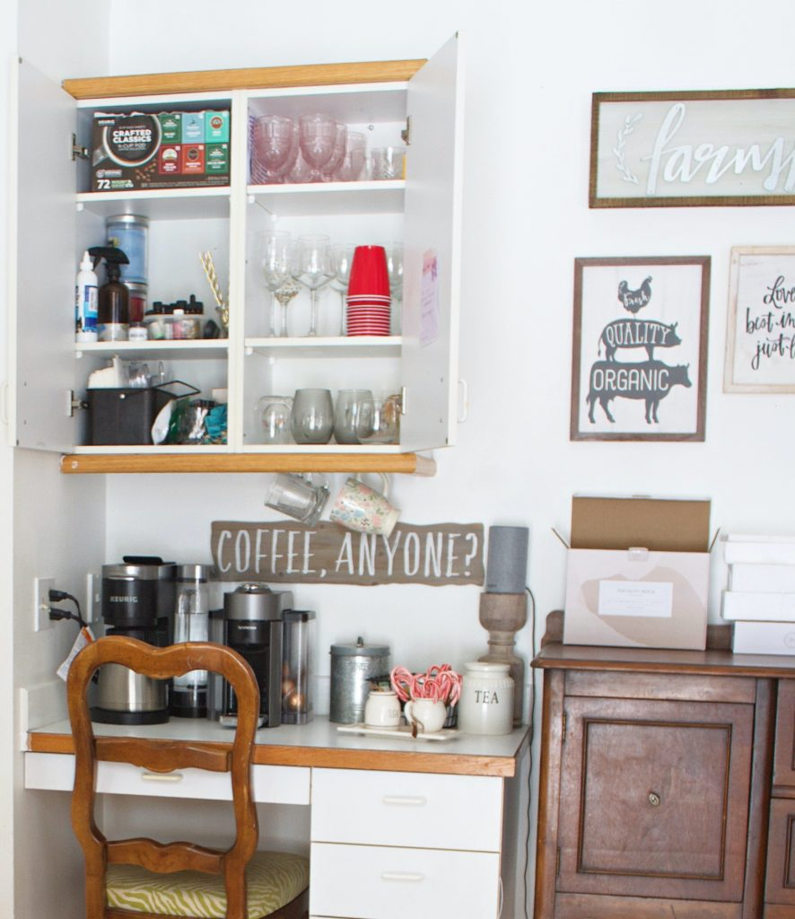 Coffee is very important in our home. So, we needed an area dedicated to our vital morning brew. This coffee bar refresh did the trick!