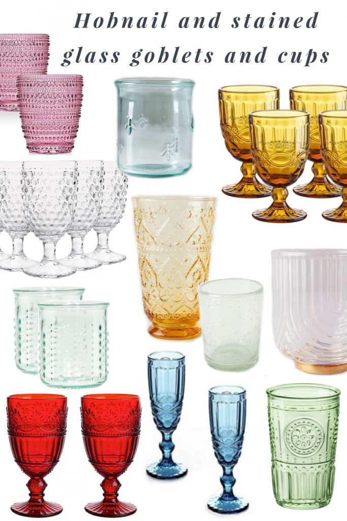 My favorite new obsession is hobnail & stained glass goblets & cups. They're beautiful & great for daily use & leveling up a regular dinner.